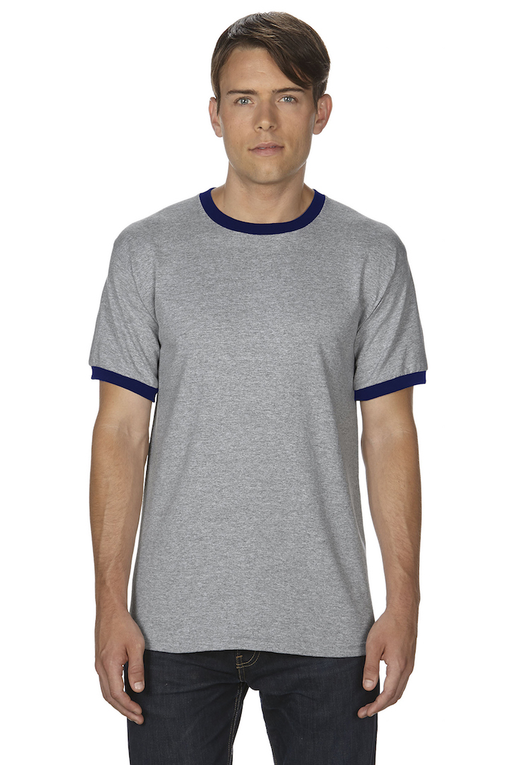 8cac5750 Ringer T-Shirt 5.5 oz.; 50% cotton / 50% polyester. Pricing starts at $6.89  for 144 pcs.